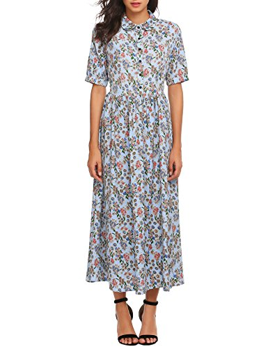 ACEVOG Womens Vintage Style Short Sleeve Floral Print Long Maxi Dress
