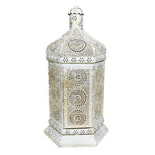 Northlight Distressed White and Gold Antique Style Moroccan Floral Cut-Out Table Lantern Lamp, (Gold Antique Table Lamp)