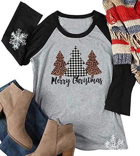 Merry Christmas Leopard Tree Print T-Shirt Women Baseball