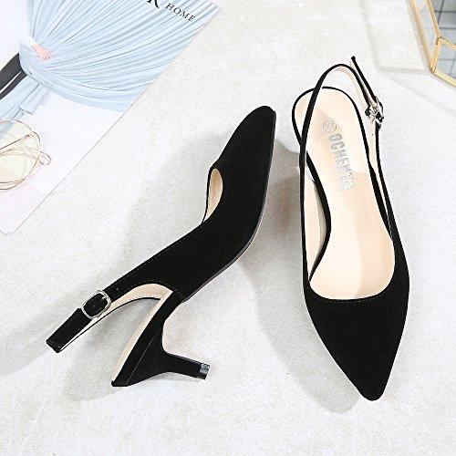 Trasera Clásicos Espigones para Negro Tiras y Gamuza EN Ochenta de Parte Mujer Hebillas Tacón con Zapatos La tIHCw7