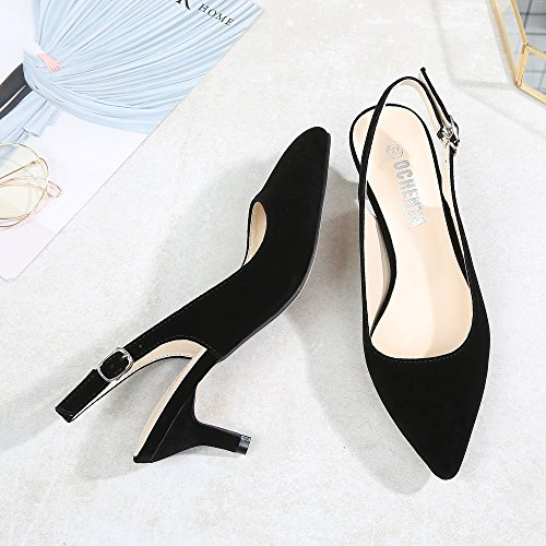 Slingback Velvet Womens Black Pointed Pumps Court OCHENTA Toe Kitten Dress Heel Shoes qRwpP6Af4W
