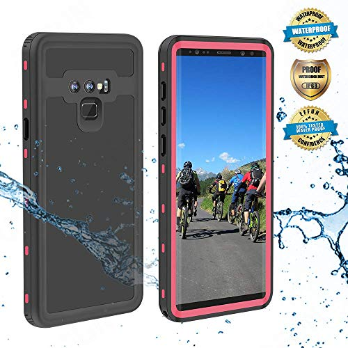 Effun Samsung Galaxy Note 9 Waterproof Case, IP68 Certified Shockproof Snowproof Dustproof Full Body Protection Underwater Cover with Built-in Screen Protector for Samsung Galaxy Note 9 Pink