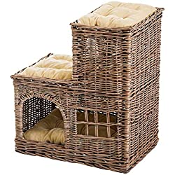 3-Tier Handcrafted Wicker Cat Condo Lounge Bed Indoor Outdoor Play House w/Soft Cushions