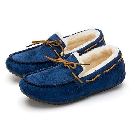 Scivolare Casual Invernale Donna Ottimale Su Scarpe Piatte Scamosciate Blu