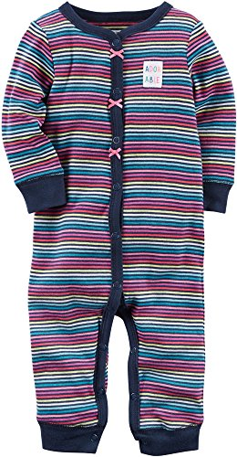 Carter's Baby Girls' Snap up Cotton Sleep and Play 9 Months,Adorable Stripes/Navy (Baby Girl Coverall)