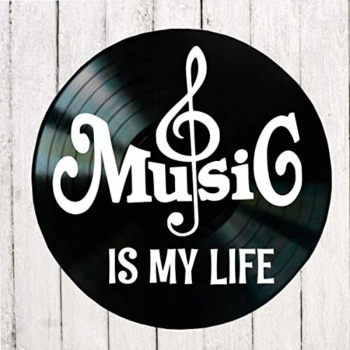 Music Is My Life quote with a Treble Clef symbol on a Vinyl Record Album Wall Art