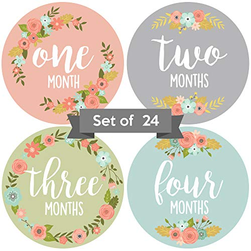 Baby Monthly Stickers | Floral Baby Milestone Stickers | Newborn Girl Stickers | Month Stickers for Baby Girl | Baby Girl Stickers | Newborn Monthly Milestone Stickers (Set of 24) - New Baby Sticker