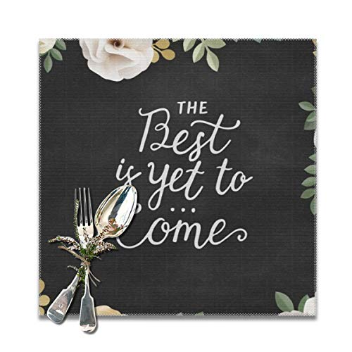 Sanghing The Best is Yet to Come Flower Wallpaper Tray Pad 12x12 6 Pieces, Personalized Tray Pad Non-Slip Washable Tray Pad, Table Heat-Resistant Kitchen Tray Pad