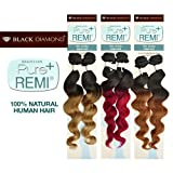 Buy One Get One Black Diamond Brazilian Remy Human Hair Weave Pure Remi Natural Spiral Curly (Natural Wave) [22'] (T1B/30)