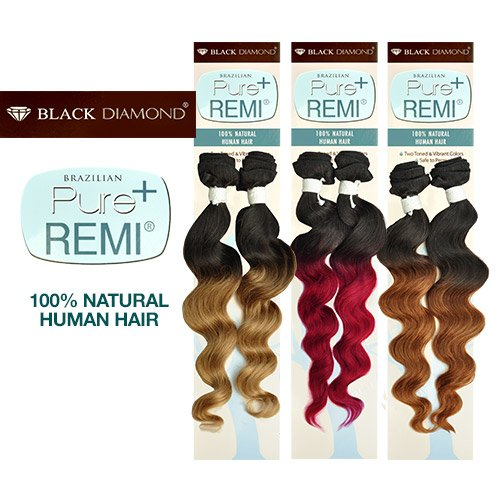 "Buy One Get One Black Diamond Brazilian Remy Human Hair Weave Pure Remi Natural Spiral Curly (Natural Wave) [18""] (T1B/613)"
