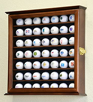 49 Golf Ball Display Case Cabinet Rack Holder w/ UV Protection -Walnut Finished