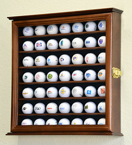 (49 Golf Ball Display Case Cabinet Rack Holder w/ UV Protection -Walnut Finished)