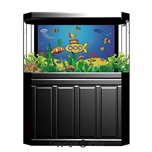 (Terrarium Fish Tank Background,Yellow Submarine,Nautical Kids Colorful Fish Underwater Jellyfish Seahorse Shells Starfish,Blue Yellow,Photography Backdrop for Pictures Party Decoration,W48.03