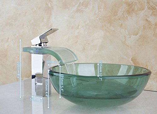 GOWE New Beautiful LED Chrome Faucet and Bathroom Green Basin Sink Vessel Tap Lavatory Glass Basin Sets 1
