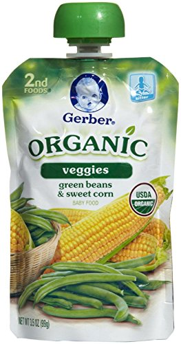 Gerber Organic 2nd Foods Veggies - Green Beans Sweet Corn - 3.5 oz - 6 pk (Gerber Baby Food Green Beans compare prices)