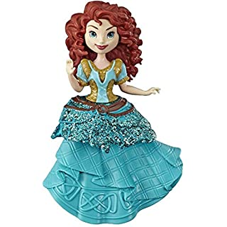 Disney Princess Merida Collectible Doll with Glittery Blue & Gold One-Clip Dress, Royal Clips Fashion Toy for 3 Year Olds & Up