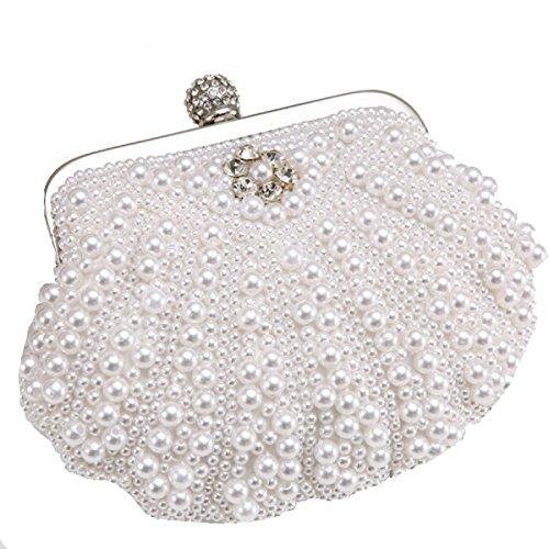 Moda Estilo De Shell Abalorios Mujeres Bolso Bolso De Diamantes De Imitación Bolsos De Tarde White