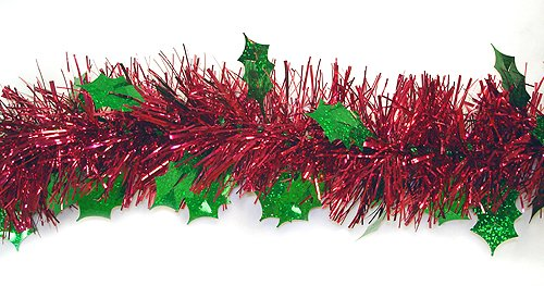 Christmas Tinsel Garland.Fc Young Unlit Shiny Red Christmas Tinsel Garland With Green Holographic Holly 12