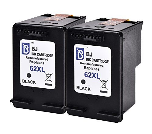 BJ Remanufactured Ink Cartridge Replacement for HP 62XL (2 Black) High Yield for HP Envy 5540 5542 5545 5640 5660 5665 7640 7645 8000 8005 HP OfficeJet 5740 5742 5743 5745 8040 (Cartridge Black 00)