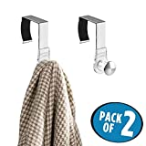 mDesign Office Cubicle Hooks for Coats, Hats, Purses, Bags, Keychain - Pack of 2, Clear/Brushed Stainless Steel