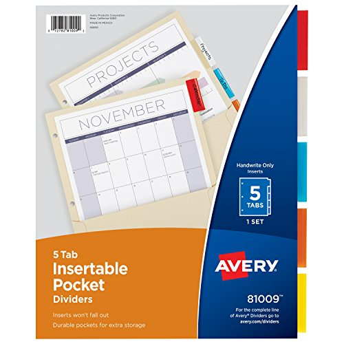 80%OFF Avery Insertable Dividers with Pockets, Manila Paper, 5 Multicolor Tabs, 1 Set (81009)