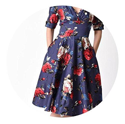 Floral Print Elegant Party Dress V-Neck Half Sleeve Casual Lady Dresses No Pocket,, S