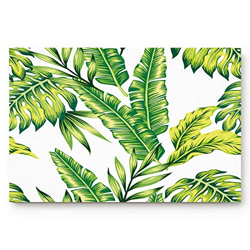 Anmevor Door Mats Indoor Bathroom Kitchen Decor Rug Mat Welcome Doormat Tropic Plant Watercolor Banana Palm Leaves Large (20