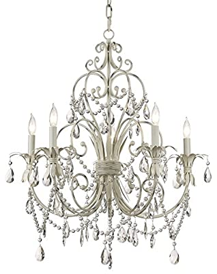 Chateau Vieux Collection Antique White Five Light Chandelier