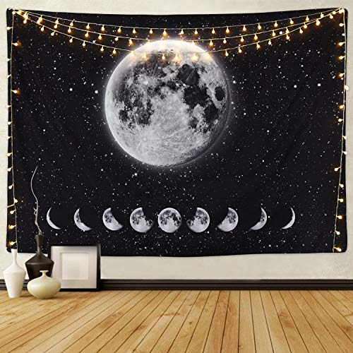 (Moon Lunar Eclipse Tapestry, Galaxy Night Sky Tapestry Starry Space Tapestry Universe Stars Sky Tapestry Planet Tapestry for Living Room Bedroom)