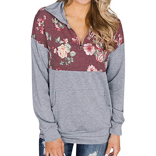 Manche Haut Poche Blouse Chic Zipper Longue Dcontracte T Cou Gray Imprimer Femme Shirt Floral V Chemisier RfBx6UI