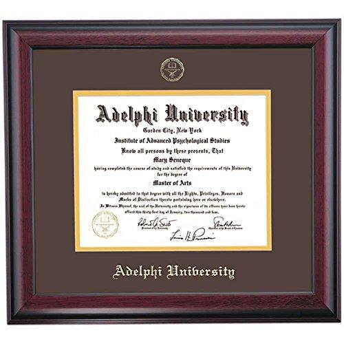 Adelphi Panthers Diploma Frame Brown Gold Matting Embossed Seal