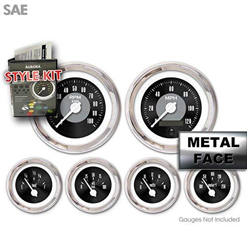 Aurora Instruments GARA6ZEXPABCD Style Kit (Style Kit - SAE American Classic Black II, White Modern Needles, Chrome Trim Rings)