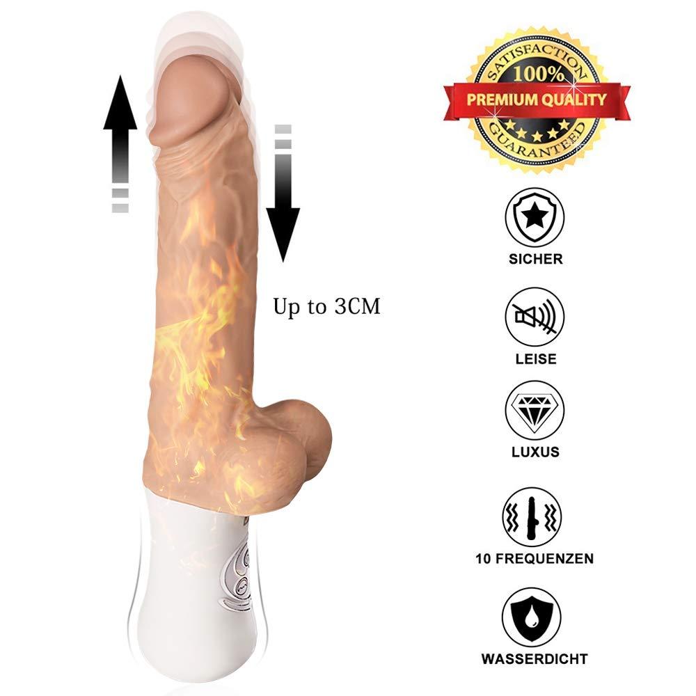 Fondlove Vibratoren für sie Beheizbarer Vibrator Dildo Realistischer Vibratoren für Die klitoris G punkt mit automatischer Stoßfunktion 3cm UP-Dehnung 10 Modi Wasserdicht USB Wiederaufladbar Erotik Sexspielzeug