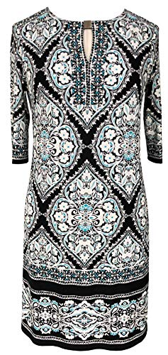 Sandra Darren Women's Plus Size Printed Ity Puff Shift Dress, Black/Ivory/Aqua, 18W ()