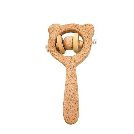 Wooden Rabbit Teether Teething Untreated Beech Wood Baby Kids Dental Care Z