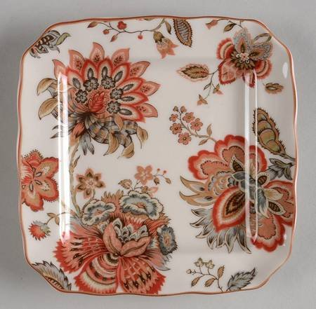 Winter Floral Red Square Appetizer Plate