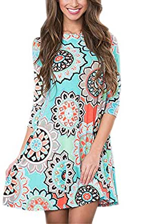 Tshirt Dresses for Women 3/4 Sleeve Floral Damask Shift Casual Swing Loose with Pockets Green Small