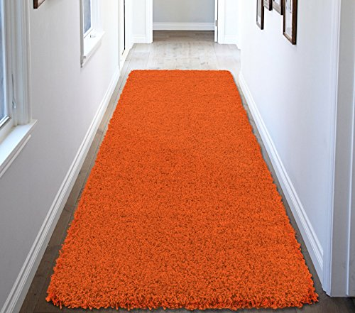 Ottomanson Soft Cozy Color Solid Shag Runner Rug Contemporary Hallway and Kitchen Shag Runner Rug, Orange, 2'7