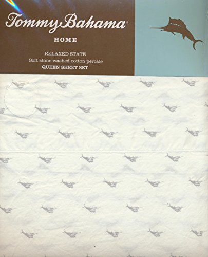 Tommy Bahama Home Queen Size 4 Piece Sheet Set - Tiny Gray Marlin Fish