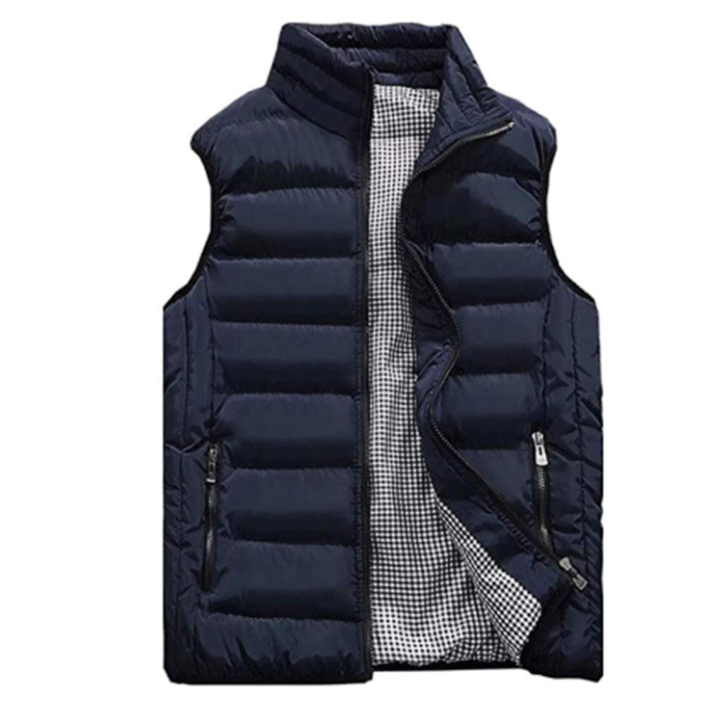 Vcansion Men's Outdoor Casual Stand Collar Padded Vest Lightweight Down Cotton Jacket Coat Vest Blue M by Vcansion