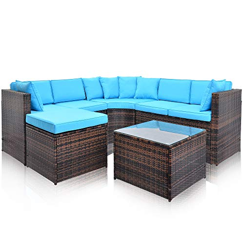 Aprox Outdoor Furniture Sectional Sofa Set, 5 PCS Patio Wicker Conversation Set with Weather Resistant Cushions and Tempered Glass Tabletop for Patio, Backyard, Pool (Blue, 1 Table) ()
