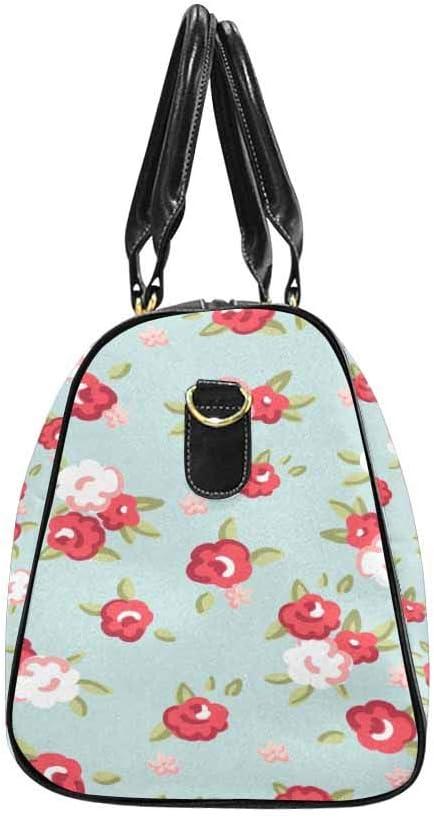 InterestPrint Unisex Duffel Bag Carry-on Bag Overnight Bag Weekender Bag Pink Roses on Blue
