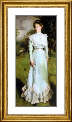 "Harrington Mann Portrait of Miss Isabella Nairn - 20.5"" x 29.5"" Matted Framed Premium Archival Print"