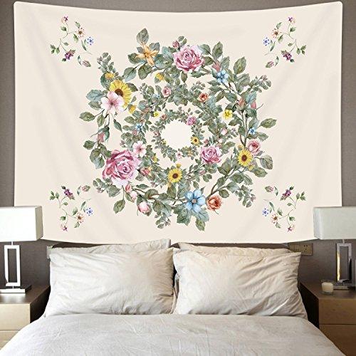 - Jiamingyang Indian Mandala Flower Printed Tapestry Wall Hanging Tapestries Boho Bedspread Beach Towel (Large/80
