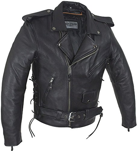 Dealer Leather Mens Classic Police Style Motorcycle Jacket With Side Laces (Belt Black Buckle Notched Leather)