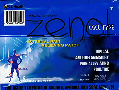 Gs Zenol Pain Relieving Patch Cool Type 5 Sheets (Pack of 5) ()