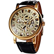 Classic Roman Golden Skeleton Mechanical Leather Business Men Man Watch PMW217