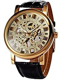 Classic Roman Golden Skeleton Mechanical Leather Business Men Man Watch PMW217