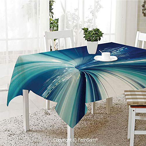 Premium Waterproof Table Cover Train Yurikamome Tokyo Asian Modern Landscape at Night Artwork Washable Table Protectors for Family Dinners(W55 -