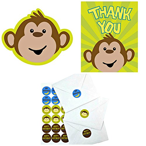 Creative Converting Monkeyin Around Invitations, Thank You Cards and Custom Designed Envelope Seals (Green- invite)